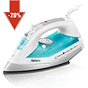 Yabano Steam Iron, Professional Iron for Clothes with Non-Stick Soleplate, Anti-Drip, Auto-Shutoff, Anti-Calc, Variable Temperature and Steam Control, Dry Iron Function, Lightweight, Teal