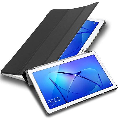 Cadorabo Funda Tableta para Huawei MediaPad T3 10 (9.6' Zoll) in Negro SATÉN – Cubierta Proteccíon Bien Fina en Cuero Artificial en Estilo Libro SIN Auto Wake Up e Función de Suporte