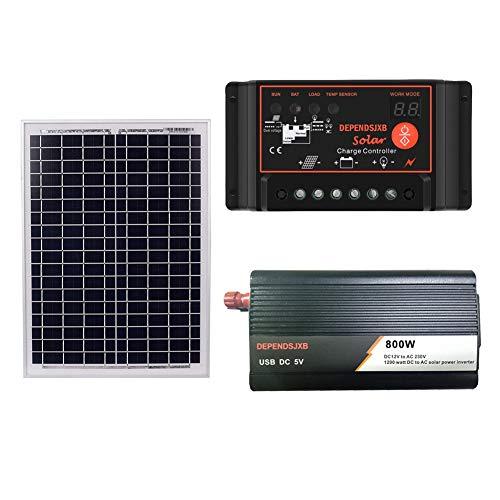 Nrpfell 18 V 20 Watt Solar Panel + 12 V Controller + 800 Watt Wechsel Richter Dc12V-Ac230V Solar Power Generation Kit, für Au?en und Haus (40A)