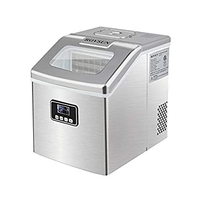 ROVSUN Ice Maker Machine Countertop, Make 40lbs Ice in 24 Hours, Compact & Portable Ice Maker with Ice Scoop & Basket for Home, Office, Kitchen, Bar (Silver)
