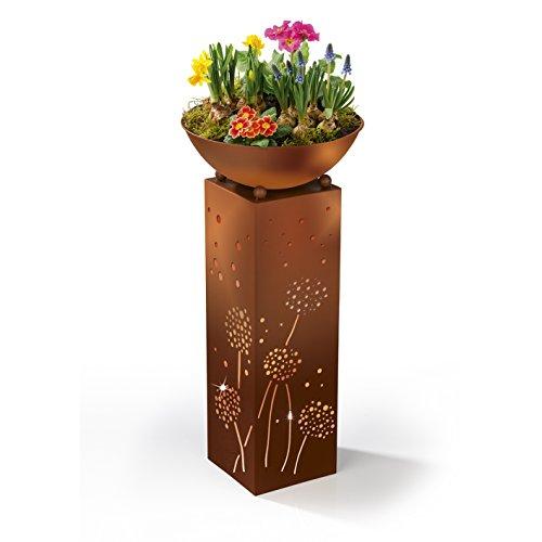 EASYmaxx LED-Dekosäule Rost-Look - Pusteblumen-Design | mit Pflanzschale ca. Ø 32 cm | Integrierte Timerfunktion, warmweiß leuchtende LEDs | für innen und aussen [72cm]
