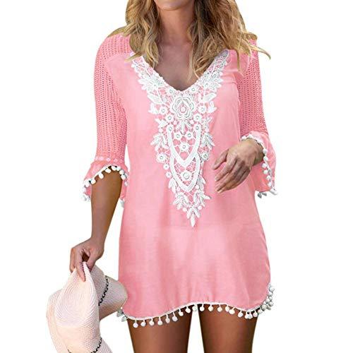 heekpek Mujer Collar De Flores Vestido De Playa Vestido Mangas Cortas Gasa Beach Ropa de Baño Borla Bikini Cover up Camisolas y Pareos Plus Size