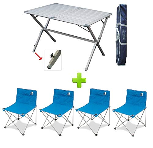 Hoge rugleuning campingtafel met draagtas model Genius 150 x 80 cm + 6 kussens regista kleur blauw *** Aanbieding tot evenement ***
