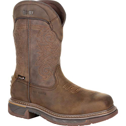 Rocky Iron Skull Composite Toe Internal Met Guard Waterproof Western Boot Size 9(W) Distressed Brown