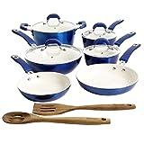 Kenmore Arlington Nonstick Ceramic Coated Forged Aluminum Cookware, 12-Piece Set, Metallic Blue