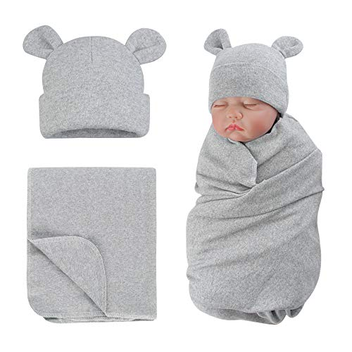 Coton Couverture d'emmaillotage avec Bébé Chapeau de Nouveau Né Mignon Ours Naissance Couverture et Bonnet(Gris)