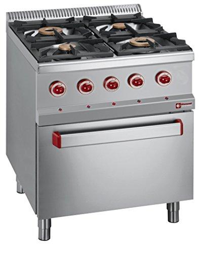 Modular Cocina de gas con 4quemadores y trobac Minihorno eléctrico GN1/1invitados Lando