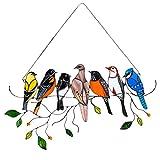 LUOWAN Vidrieras Colgantes Pájaros En El Panel De Ventana Paneles Artísticos De Estilo Tiffany Colgantes Suncatchers para Puertas De Ventanas 7 Pájaros