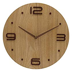 BECANOE Wooden Wall Clocks Non-Ticking 12 Inch Silent Large 3D Stereo Number Home/Kitchen/Office/School Clock Easy to Read