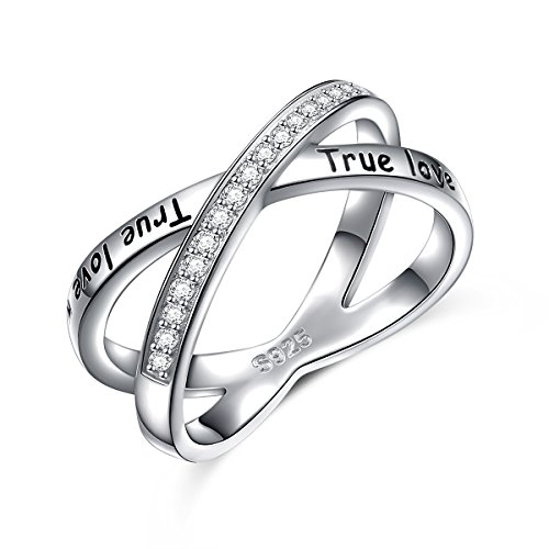 S925 Sterling Silver True Love Waits Infinity Criss Cross Rings for Women Lady (6)