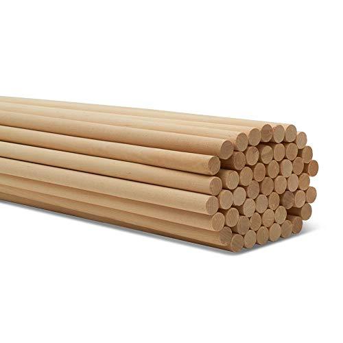Woodpeckers Dübelstangen, 1,27 x 45,7 cm, Birke Hartholz, 25 Stück Holzdübelstangen unlackiert für Handwerk und DIY-Projekte