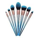 7pcs del maquillaje de cepillo del sistema de Azul Negro degradado de la manija de sombra de ojos en polvo de labios herramientas del maquillaje Kits de cepillo cosmético Maquillaje Herramienta Cosmét