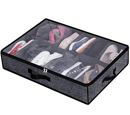 Under Bed Shoe Storage Organizer Fits 12 Pairs- Underbed Shoe Container Solution Shoes Box Bins with Clear Window for SneakersHigh HeelsFlip FlopBlack