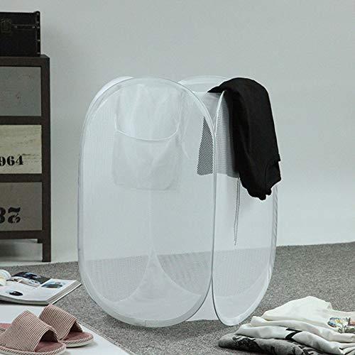 TOBY Folding Panier à Linge Mesh, Grande Rangement Facile Ventilé Portable Durable Ménage Essentials pour Le Lavage Stockage -Blanc 36x36x57cm(14x14x22inch)