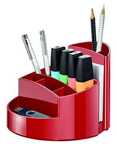 HAN Schreibtischköcher RONDO – stabiler Stiftebehälter mit 9 Fächern inkl. praktischem Briefschlitz und Gummifüßen, rot