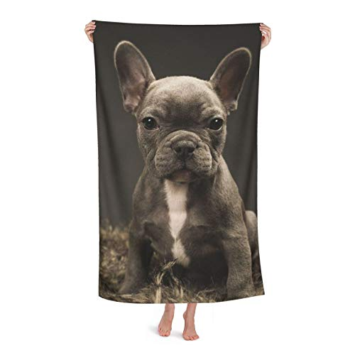 French Bull Dog Beach Towel for Adults,80x130cm,Microfiber Bath Towels,Super Absorbent Quick Dry Towel Blanket for Shower Camping Beach