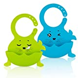 silicone infant feeding bibs for baby boy bibs waterproof with food catcher wipes Set of 2 Colors(seal-Green/Sky blue)