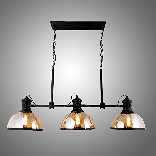 "45"" Industrial Vintage Amber Glass Shade Hanging Pool Table Billiards Light Fixture Game Room Ceiling Light Fixture Pendant Retro Chandelier Restaurant Bar Pendant Lamp Nostalgic Cafe"