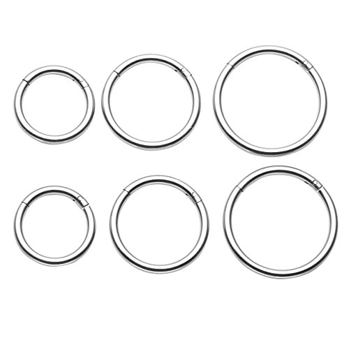 PiercingJ 6pcs 16G Stainless Steel Clip on Closure Round Ring Tragus Cartilage Nose Hoop Earring Hoop Septum Piercing 6-10mm