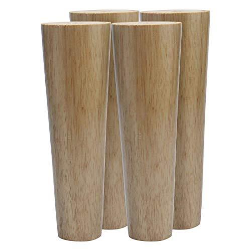 YeVhear - Conjunto de 4 patas redondas de madera para muebles, muebles, muebles, muebles, muebles, sillas, escritorio, armario, banco y patas de repuesto