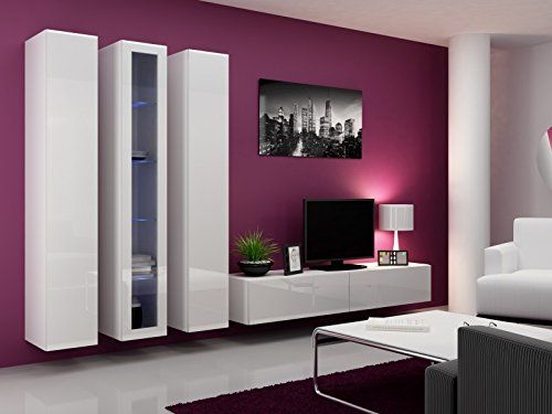 Jadella Wohnwand Anbau Wand Fernsehschrank Hängeschrank Regal Hochglanz Matt Wohnzimmer, Farbe:Weiß