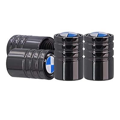 AOOOOP Car Tire Valve Caps for BMW Dust Cover - Heavy-Duty Wheel Air Cover Auto Exterior Accessory for BMW X1 X2 X3 X4 X5 X6 X7 Z4 M i3 i8 2 3 4 5 6 7 8 Tyre Valve Stem Cap (4PCS Gun Black)