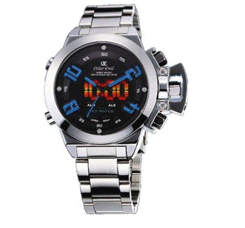 Oskar Emil - Reloj analógico-Digital para Caballero de Acero Inoxidable Negro