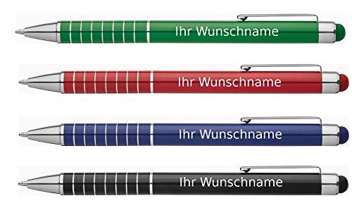 4 Touchpen Kugelschreiber mit Gravur / aus Metall / Farbe: je 1x grün, blau, schwarz, rot