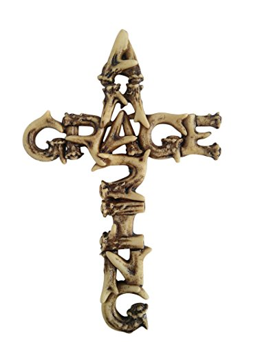 """Amazing Grace Antler Christian Wall Cross Home Decor by Pine Ridge - Catholic Crafted Polyresin Art Cross Gift Ideas, 6"""""""