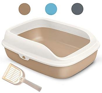 BPS Litière en plastique pour chats et animaux domestiques avec pelle 3 tailles et couleurs au choix.