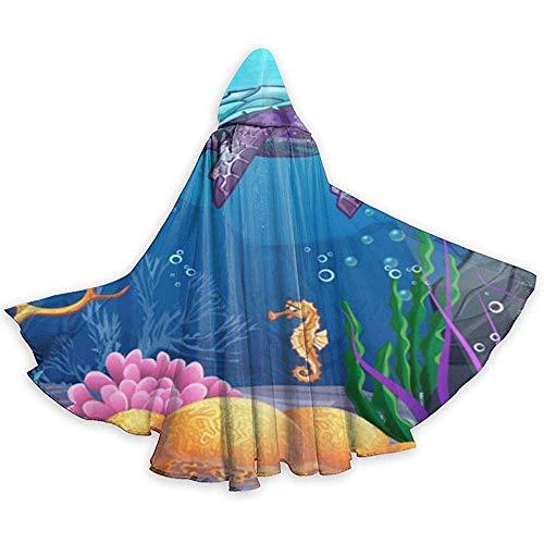 Nood-toepasbare capuchon robe, carnaval cape, kap met capuchon, kostuum omhanging, volwassenen omhanging, grappige viskwallen zeepaardje duivel heks toveraar cape, vampierkostuum, party capuchon mantel