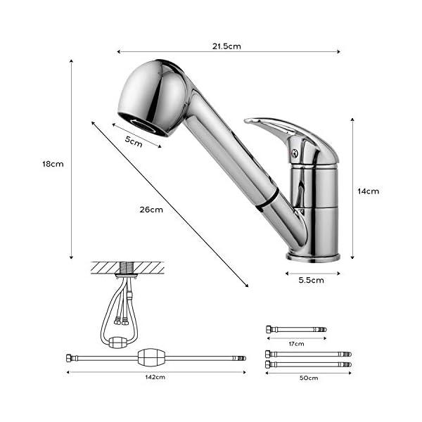 Grifos Lavabos, Grifo de cocina extraible monomando 2 funciones grifo 360°, Grifos de Lavabo y Grifo fregadero cocina…