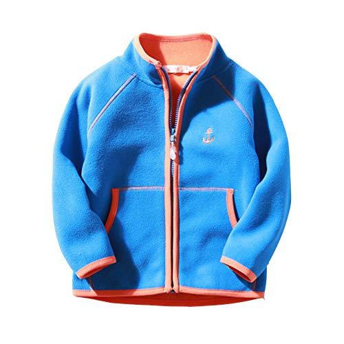 Lishui Kinder Junge Mädchen Softshell Jacke Reißverschluss Fleecejacke Casual Leichtgewicht Mantel Blau 4-5/120 - Höhengeeignet:110CM