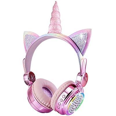 KORABA Kids Headphones Bluetooth, LED Lights Color Change Wireless Unicorn Headphones for Girls/Boys/Xmax Gift/Online Classes (Rainbow Unicorn) from Koraba-tech