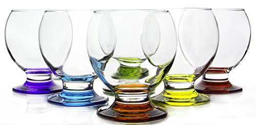 Set of 6 Orion Colored Footed Drinking Glass, Small Size 3.75