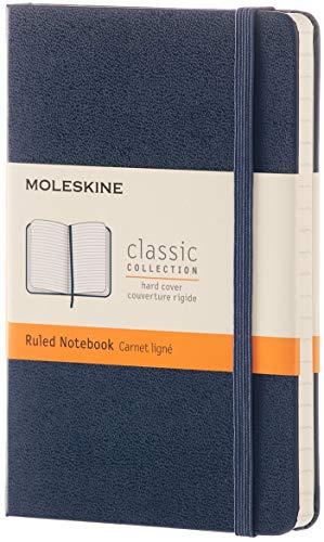 Moleskine - Cuaderno Clásico con Hojas Rayadas, Tapa Dura y Cierre Elástico, Color Azul Zafiro, Tamaño Pequeño 9 x 14 cm, 192 Hojas