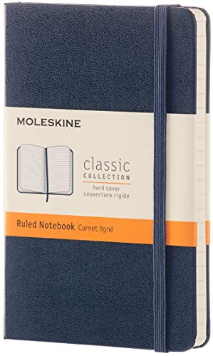 "Moleskine Classic Notebook, Hard Cover, Pocket (3.5"" x 5.5"") Ruled/Lined, Sapphire Blue, 192 Pages"
