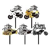 Aabellay 10 piezas de decoración para tarta de cumpleaños de acrílico para motocicleta magdalenas coche, scooter, moto, motocross, suministros para fiestas tartas recuerdos cabina de fotos