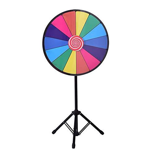 Farbe Preis Rad, 18 Slots 24Inch Fortune-Roulette Spinning Spiel Mit Dry Erase, Metallständer Für Party Karneval Messe (Regenbogen, Tripod Stativ)