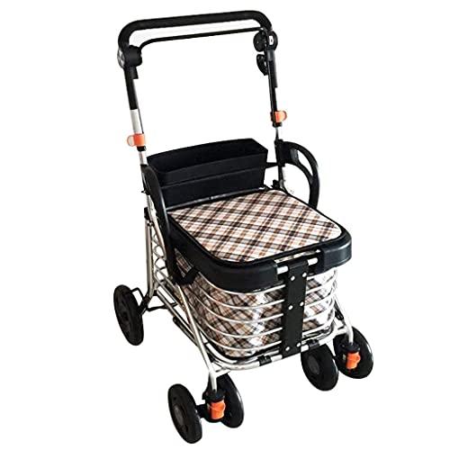 showyow Carretilla plegable, carrito de la compra plegable para personas mayores con cuatro ruedas, fácil de plegar, 43 l de gran capacidad para coche de mano ligero