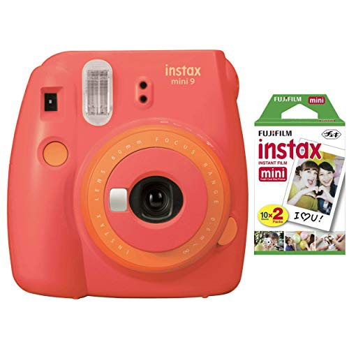 Fujifilm instax Mini Instant Camera (Coral Papaya) with Film Twin Pack Bundle (2 Items) (Fuji0513)