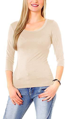Easy Young Fashion Damen Basic Shirt 3/4 Arm Longsleeve Langarmshirt Stretch T-Shirt Unterhemd Rundhals-Ausschnitt Beige L 40