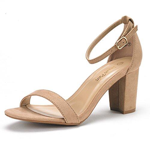 DREAM PAIRS Women's Chunk Nude Suede Low Heel Pump Sandals – 9 M US