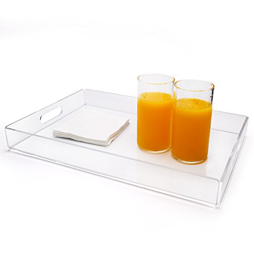 Clear Acrylic Serving TrayCommercial Food Serving Tray for Breakfast Tea Butler with HandleClear 12 x 12 Trays for Home Decor