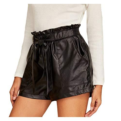 Eternali 2020 Sommer Damen Sport Gym Metallic Skinny Faux PU Shorts Glänzende Hose mit Gürtel Hot-Pants Elastischer Hohe Taille Rave Booty Dance Kurz Hose Frauen Mode Streetwear Leder Look Hotpants