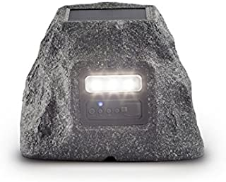 ION Audio Solar Stone Glow Wireless All-Weather Rechargeable Speaker with Ambient Backlighting, Stone