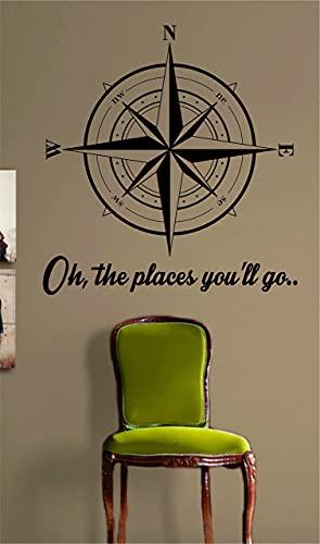 Calcomanía de vinilo para pared, diseño de brújula con texto en inglés 'Oh The Places Youll Go', diseño náutico
