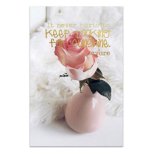 U/N Florero de Rosas Impresiones en Lienzo de Flores Keep Life Cartel de Palabras Simples decoración de Imagen de peonía para Sala de Estar decoración de Arte de Pared Moderna-1