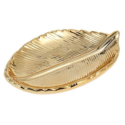 VOSAREA Gold Tablett Gold Schmuckteller Blattgold Schmuckschale Kosmetiktablett für Schlüssel Ringe Halsketten Ohrringe Schminktisch Waschtisch Schrank (Gold)