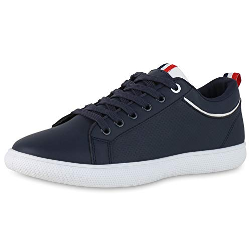 SCARPE VITA Herren Sneaker Low Turnschuhe Schnürer Lack Leder-Optik Schuhe Bequeme Freizeitschuhe 190765 Dunkelblau Blau 44